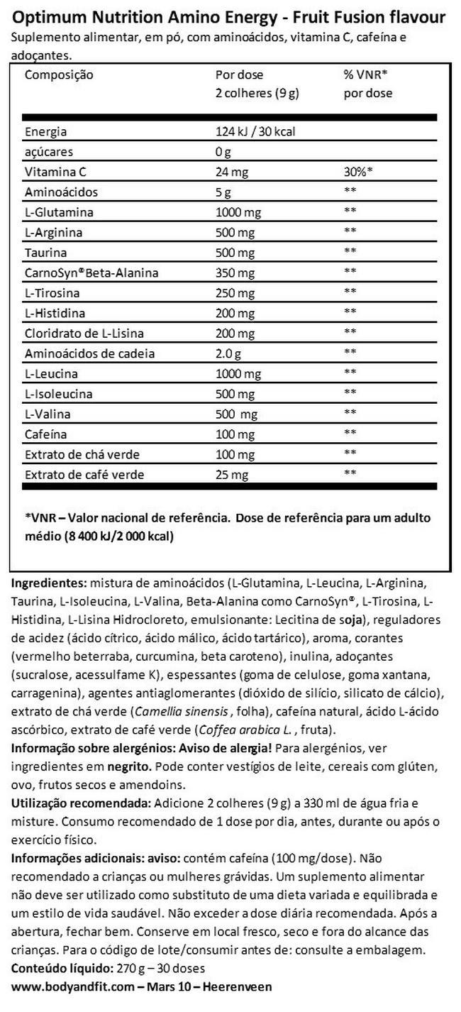 Amino Energy Nutritional Information 1