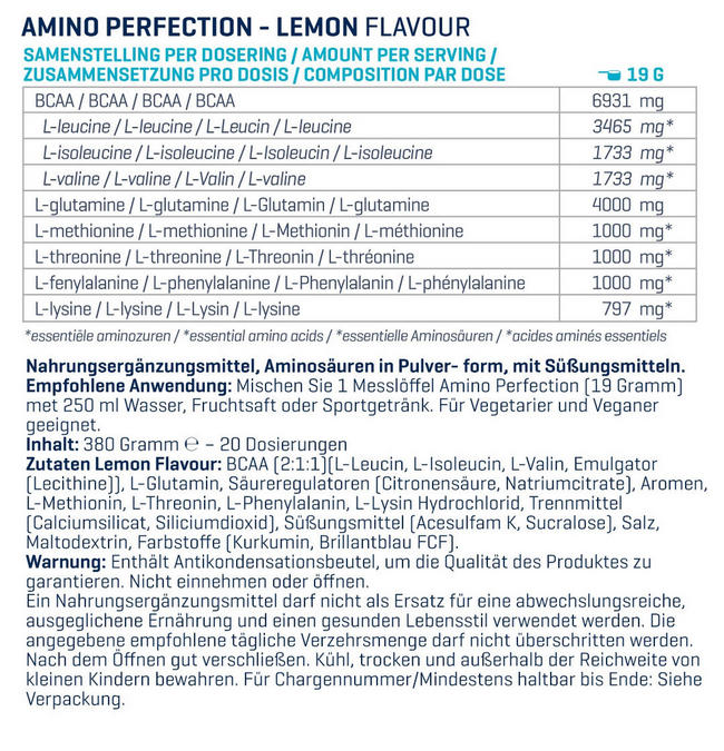 Amino Perfection (BCAA, EAA und Glutamin) Nutritional Information 1