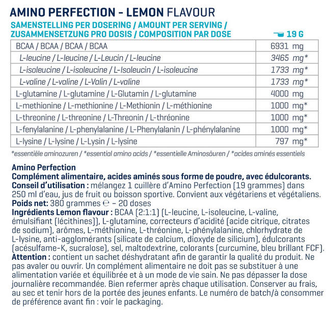 Amino Perfection (BCAA, EAA et Glutamine) Nutritional Information 1