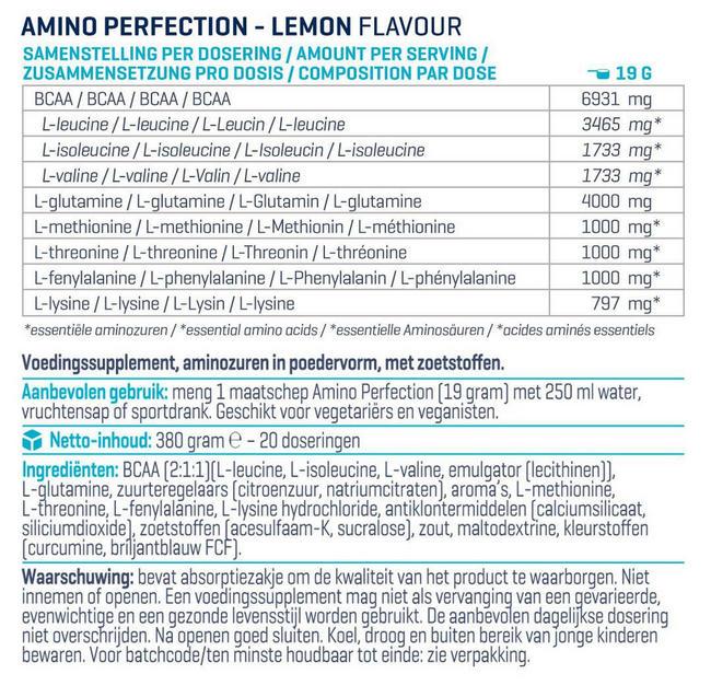 Amino Perfection (BCAA, EAA en Glutamine) Nutritional Information 1