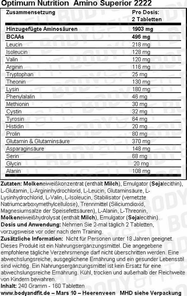 Amino Superior 2222 Nutritional Information 3