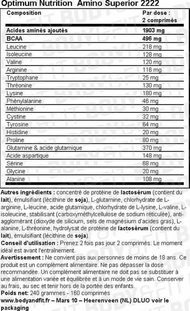 Comprimés d'acides aminés Amino Superior2222 Nutritional Information 1