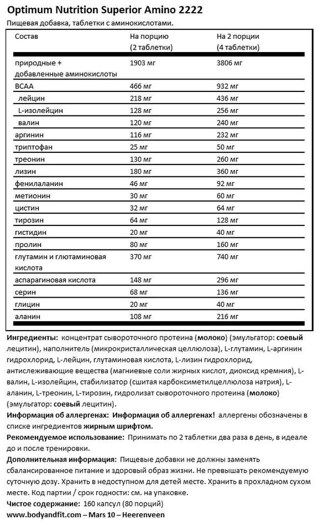 Amino Superior 2222 Nutritional Information 1