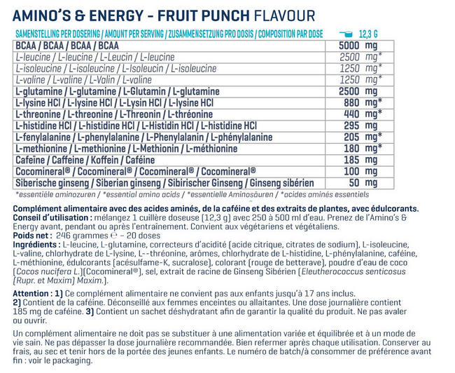 Amino's & Energy Nutritional Information 1