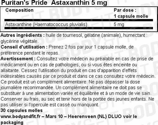 Capsules molles Astaxanthine 5 mg Nutritional Information 1