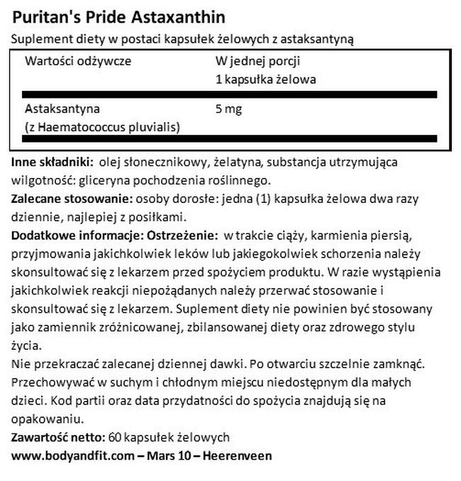 Astaxanthin 5 mg Nutritional Information 1