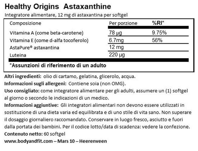 Astaxantina Nutritional Information 1
