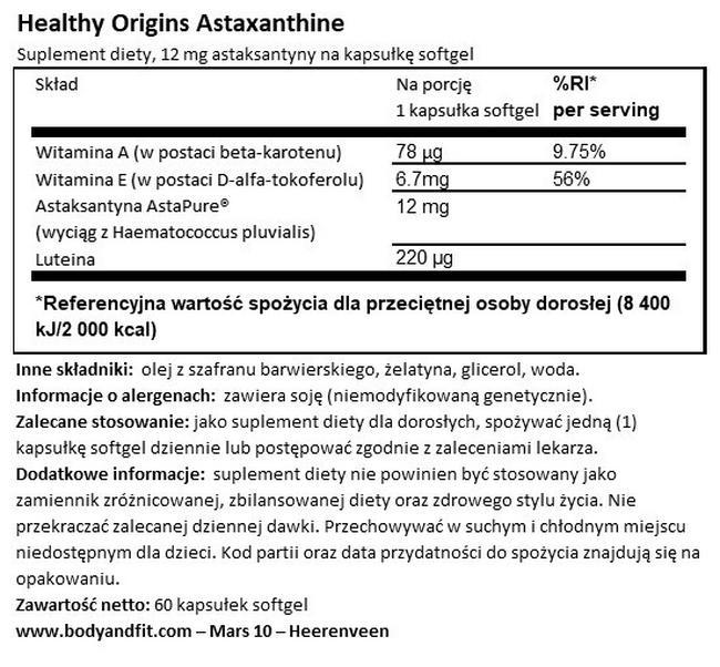Astaksantyna Nutritional Information 1
