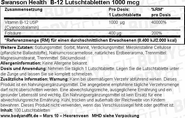 B-12 Lutschtabletten 1000 mcg Nutritional Information 1