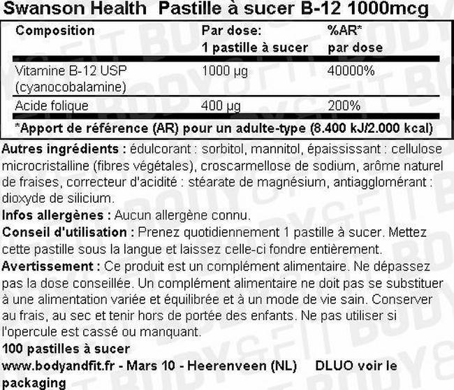 B-12 Pastilles à sucer 1000mcg Nutritional Information 1