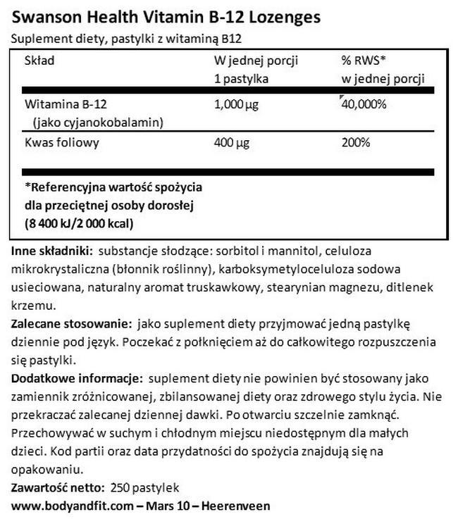 Tabletki do ssania z witaminą B12 1000 µg Nutritional Information 1