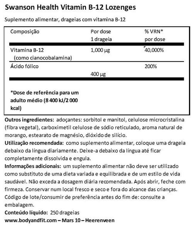 B12 Lozenges 1000 µg Nutritional Information 1