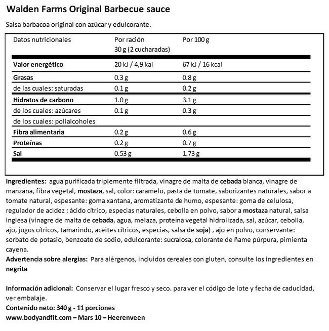 Salsa Barbecue Nutritional Information 1