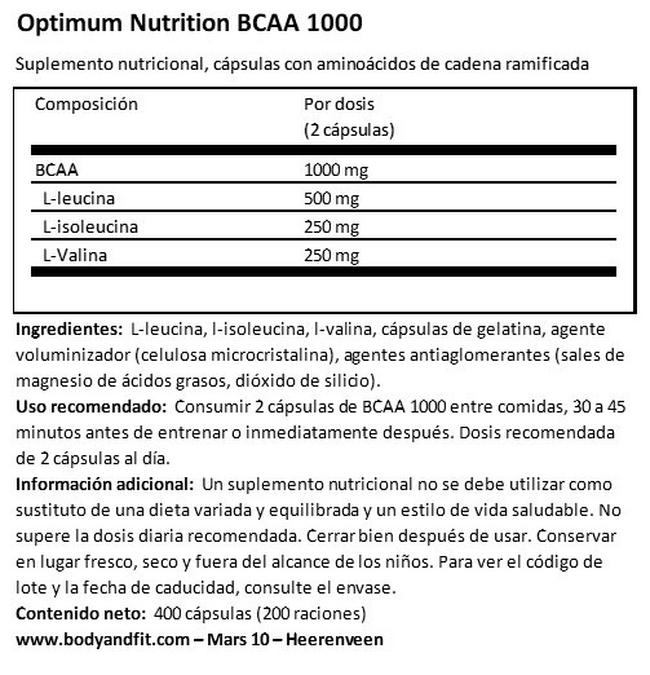 BCAA 1000 Nutritional Information 1