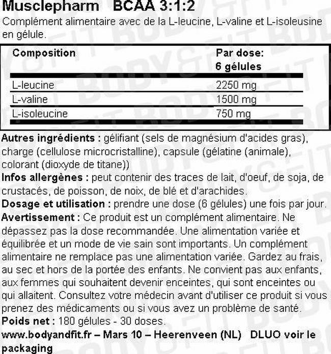 Gélules BCAA 3: 1: 2 Nutritional Information 1