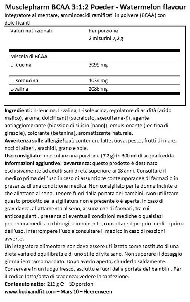 BCAA 3: 1: 2 Powder Nutritional Information 1