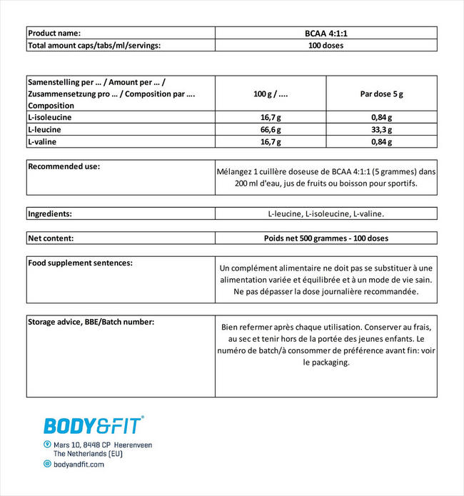 BCAA 4:1:1 Nutritional Information 5
