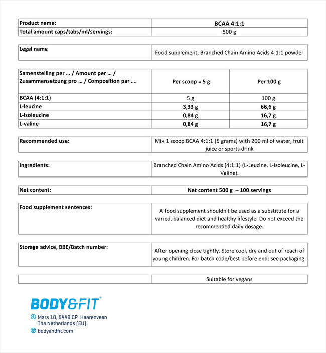BCAA 4:1:1 Nutritional Information 1
