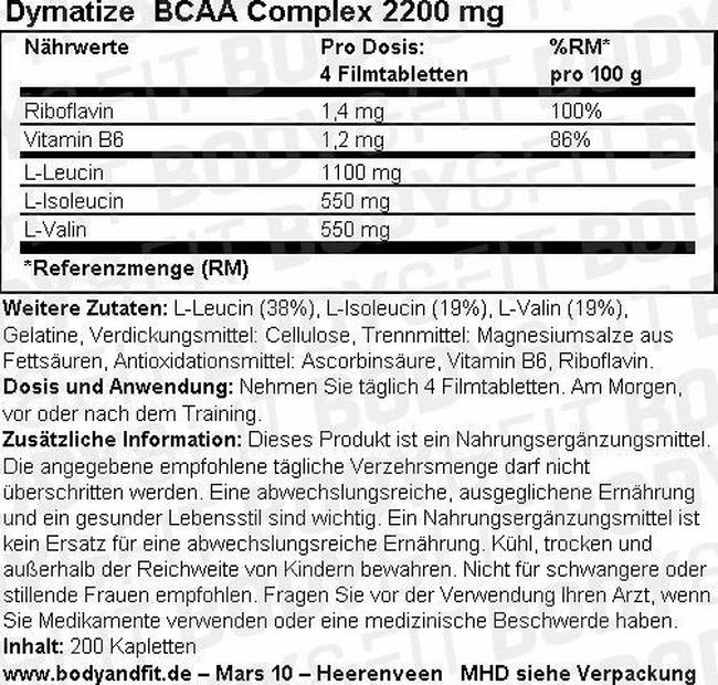 BCAA Complex 2200 mg Nutritional Information 1