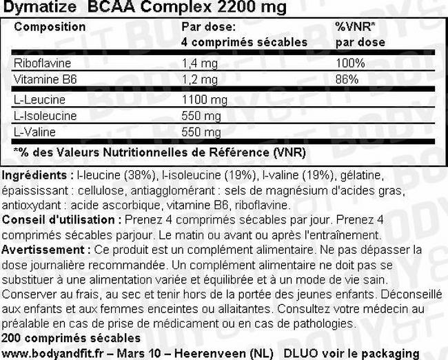 Gélules BCAA 2200 Nutritional Information 1