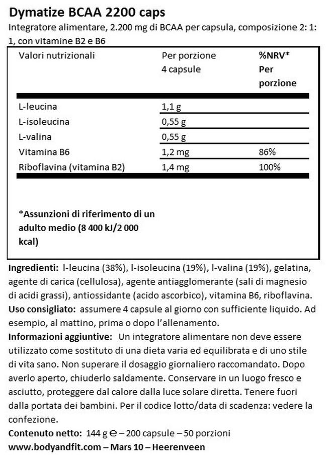 BCAA 2200 Caps Nutritional Information 1