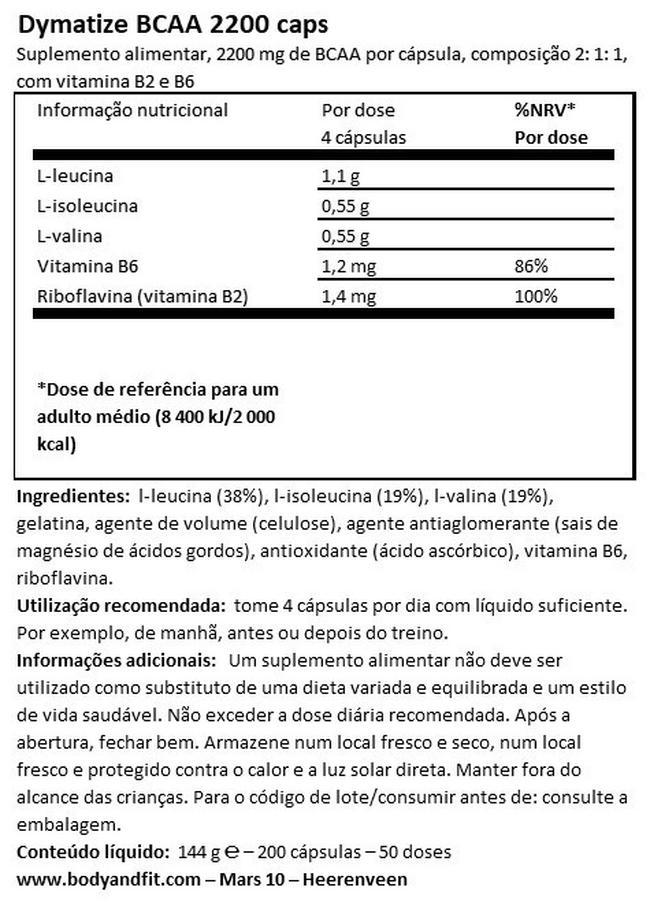 BCAA 2200 cápsulas Nutritional Information 1