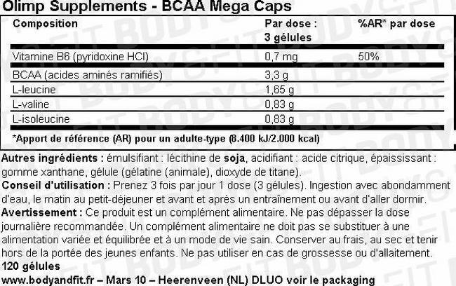 BCAA Mega Caps Nutritional Information 1