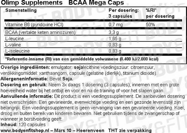 BCAA Mega Caps Nutritional Information 1