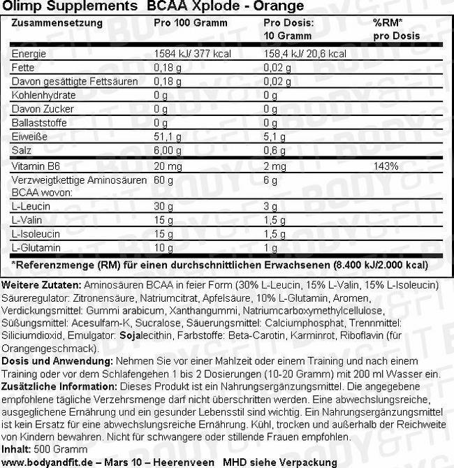 BCAA Xplode Nutritional Information 1
