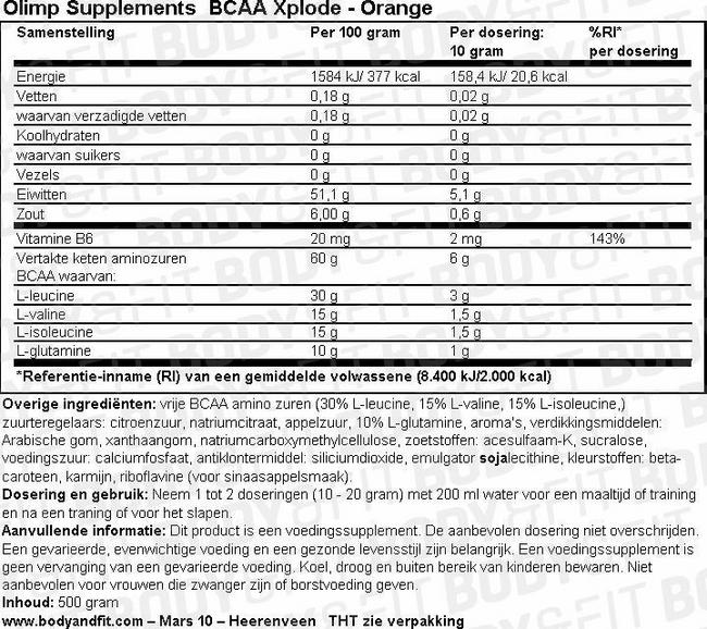 BCAA Xplode Nutritional Information 1