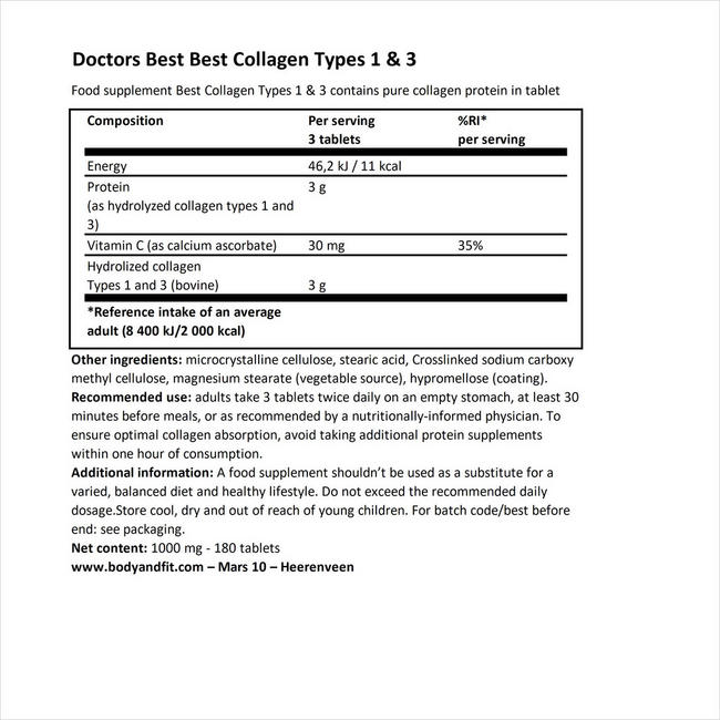 Doctor's Best Collagen Types 1 & 3 - 180 tabs Nutritional Information 1
