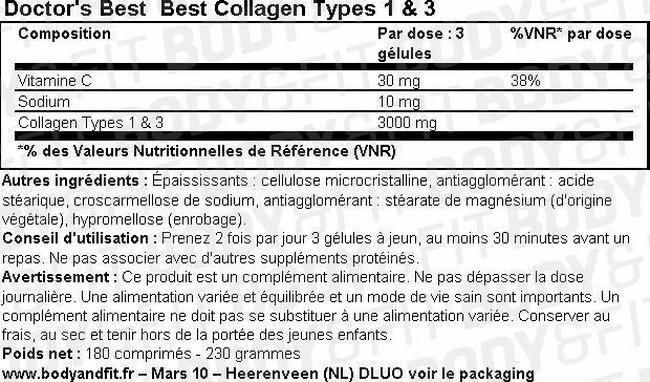 Best Collagen Types 1 & 3 Nutritional Information 1