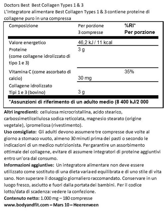 Best Collagene tipo 1 & 3 Nutritional Information 1