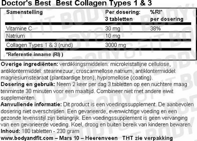 Doctor's Best Collagen Types 1 & 3 - 180 tabs Nutritional Information 1