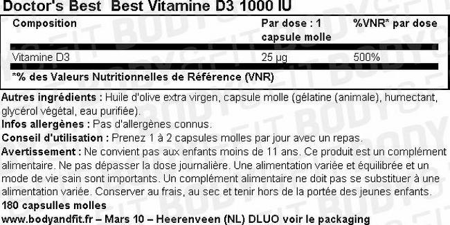 Best Vitamine D3 Nutritional Information 1