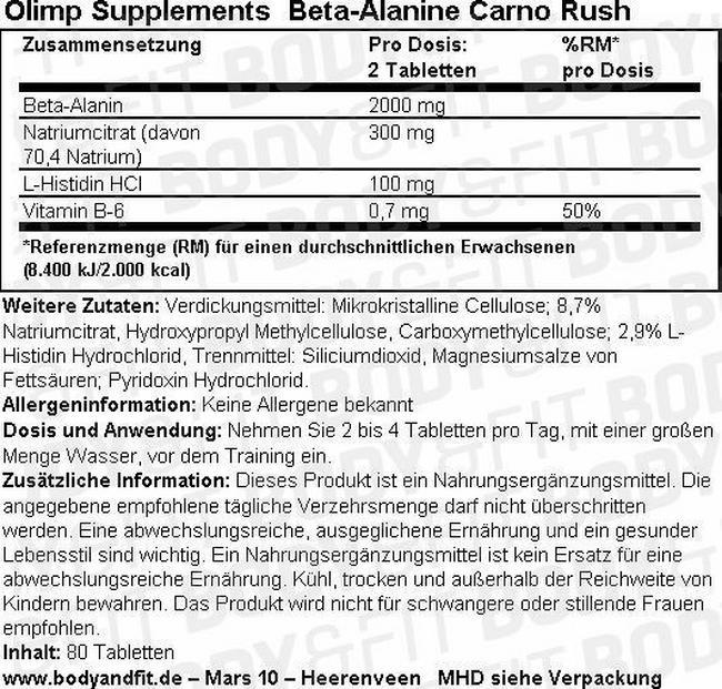 Beta-Alanine Carno Rush Nutritional Information 1