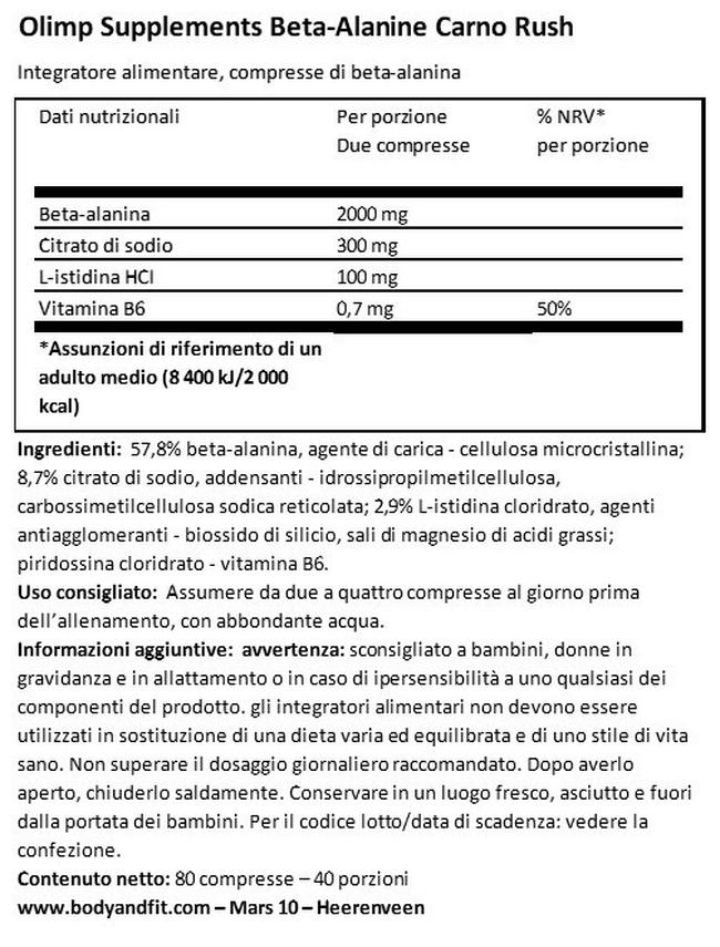 Beta-Alanine Carno Rush | Body & Fit Nutritional Information 1