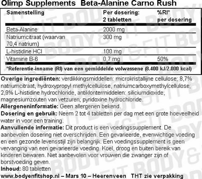 Beta-Alanine Carno Rush Nutritional Information 1