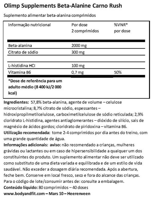 Beta-Alanina Carno Rush Nutritional Information 1