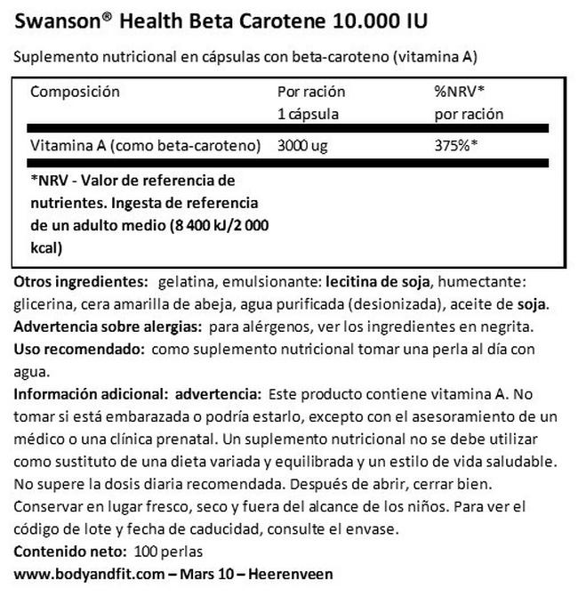 Beta Carotene 1 (vitamina A) Nutritional Information 1