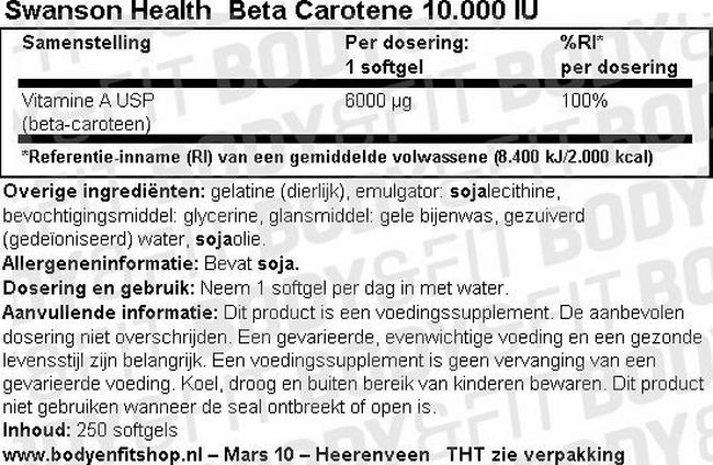 Beta Carotene 10.000 IU Nutritional Information 1