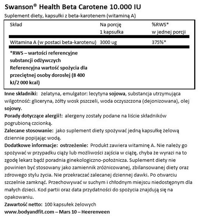 Beta karoten 1 (witamina A) Nutritional Information 1