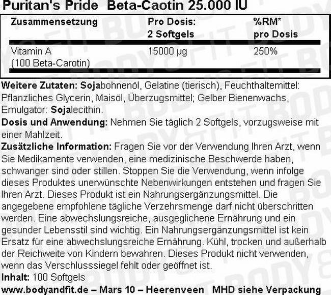 Beta-Carotene 25.000 IU Nutritional Information 1