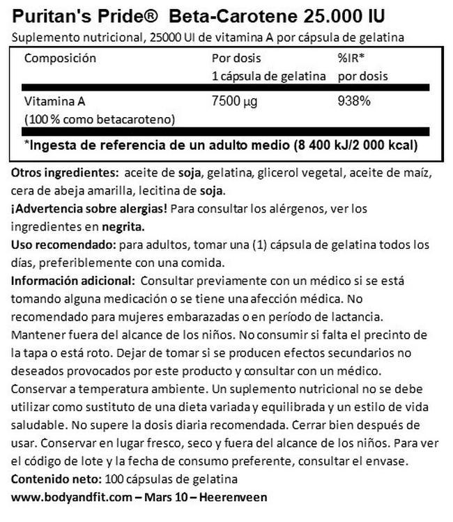 Beta-Carotene Nutritional Information 1