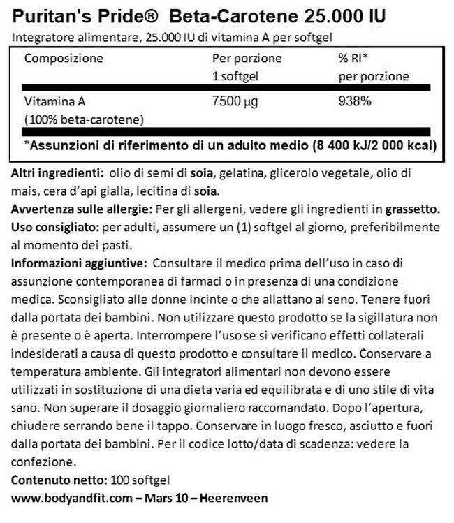 Beta-Carotene 25.000IU Nutritional Information 1