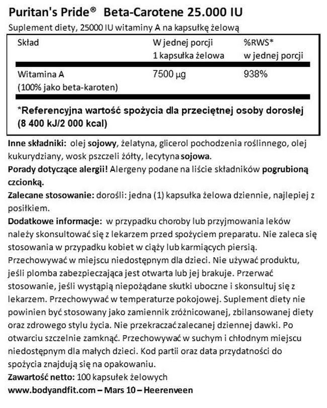 Beta-karoten  Nutritional Information 1