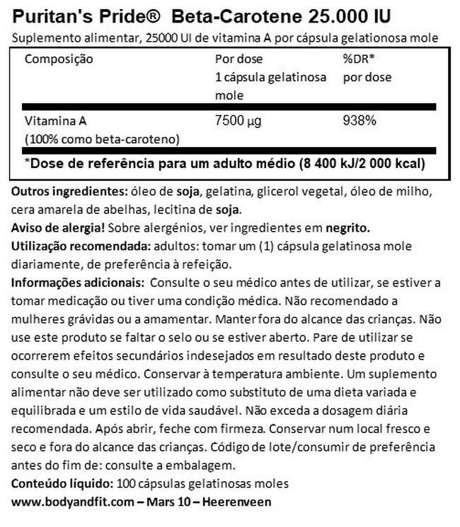 Beta-Carotene 25.000 IU Nutritional Information 1