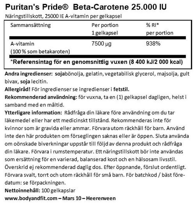 Beta-Carotene 25000UI Nutritional Information 1