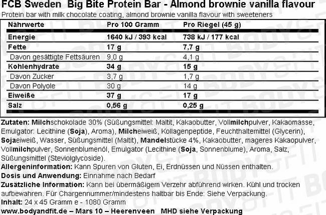 Big Bite Protein Bar - Box (24X45g) Nutritional Information 1