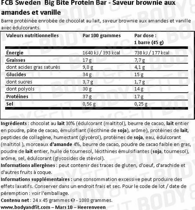 Barre protéinée Big Bite Protein Bar Nutritional Information 1